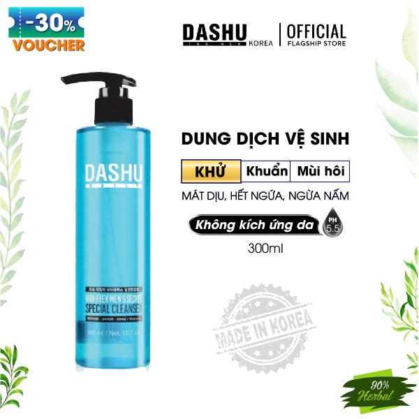 Dung dịch vệ sinh Nam Dashu Daily Vita-Flex Mens Secret Special 300ml, dung dich ve sinh nam vùng kín triết xuất tự nhiên, duy trì axit độ PH thấp, giảm mùi khó chịu, mát dịu, dưỡng ẩm, hết ngứa, bọt mềm mịn massage trên vùng da nhạy cao cấp