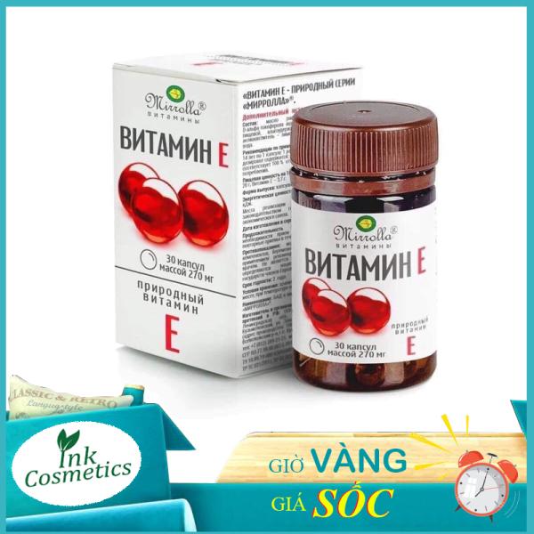 Viên Uống Vitamin E Đỏ Nga Mirrola Dưỡng Da Ngừa Lão Hóa Da 270mg