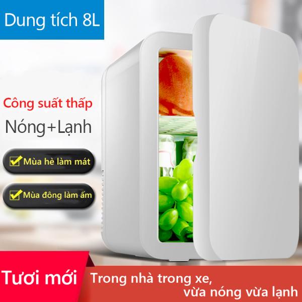 Tủ lạnh mini 8L dùng trên xe oto hoặc gia đình, vừa làm lạnh vừa làm Keep Going Maxấm được