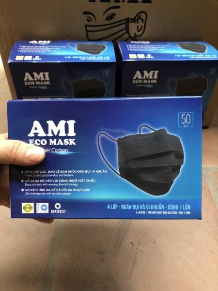 [1 hộp 50 chiếc ] Khẩu trang y tế AMI 4 lớp than hoạt tính kháng khuẩn ngừa dịch chống thấm nước lọc bụi cao cấp