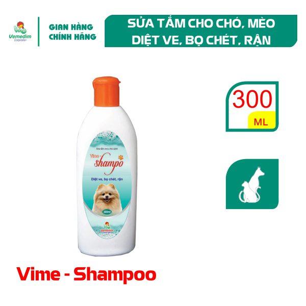 Vemedim Vime Shampo, sữa tắm cho chó mèo diệt ve, bọ chét, rận, chai 300ml