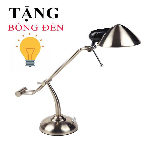 Đèn học để bàn Inox cao cấp, Đèn bàn làm việc Kim loại tích hợp đèn ngủ, đèn trang tí, đèn bàn văn phòng