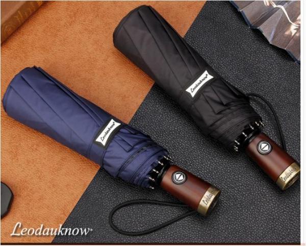 ô cán ngắn tự động 2 chiều cán gỗ bọc đồng khắc logo Leodauknow xuất Nhật, ô dù đi mưa cao cấp, ô dù chống tia UV tuyệt đối, ô dù giá rẻ