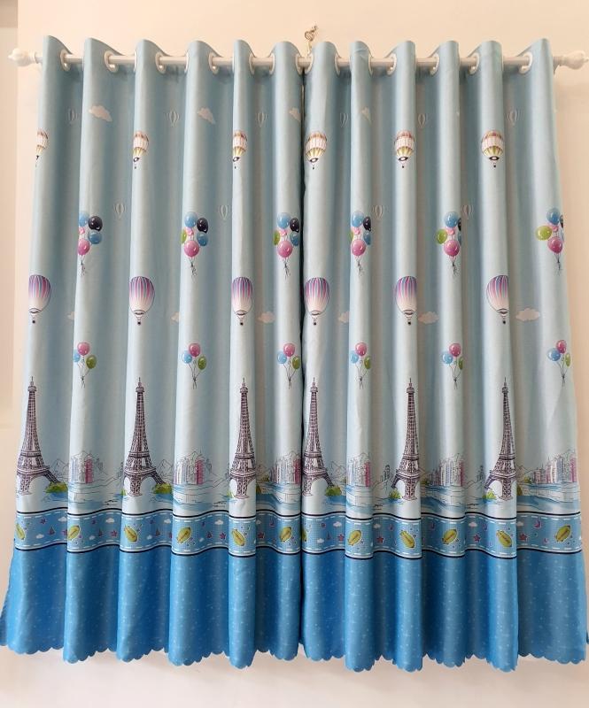 Rèm cửa sổ, cửa phòng ngủ chống nắng giá rẻ, hoạ tiết tháp Eiffel TNS-025