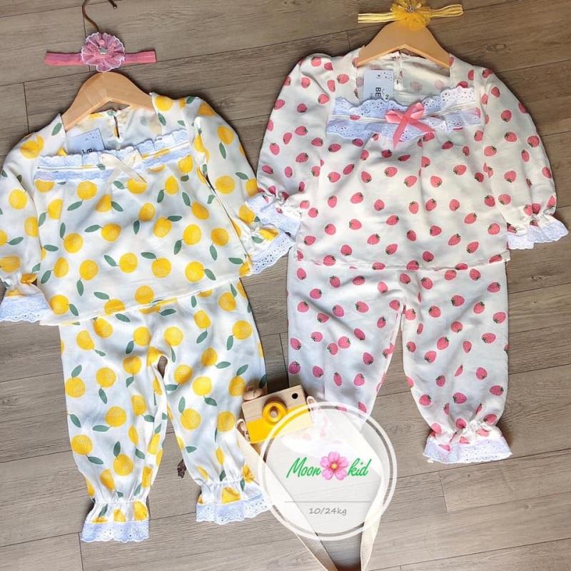 Nơi bán Combo 2 bộ đồ ngủ cho bé gái chất đũi tơ mềm mịn.