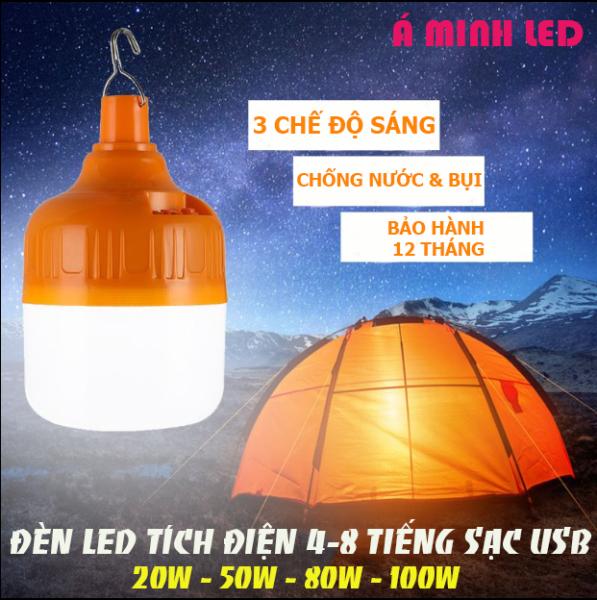 Đèn LED Tích Điện 100w Sử dụng 8 Tiếng Tặng kèm Dây Sạc USB - Đèn tích điện-Bóng đèn led-Bóng đèn tích điện-Đèn chống nước, chống va đập- Bảo hành 12 tháng