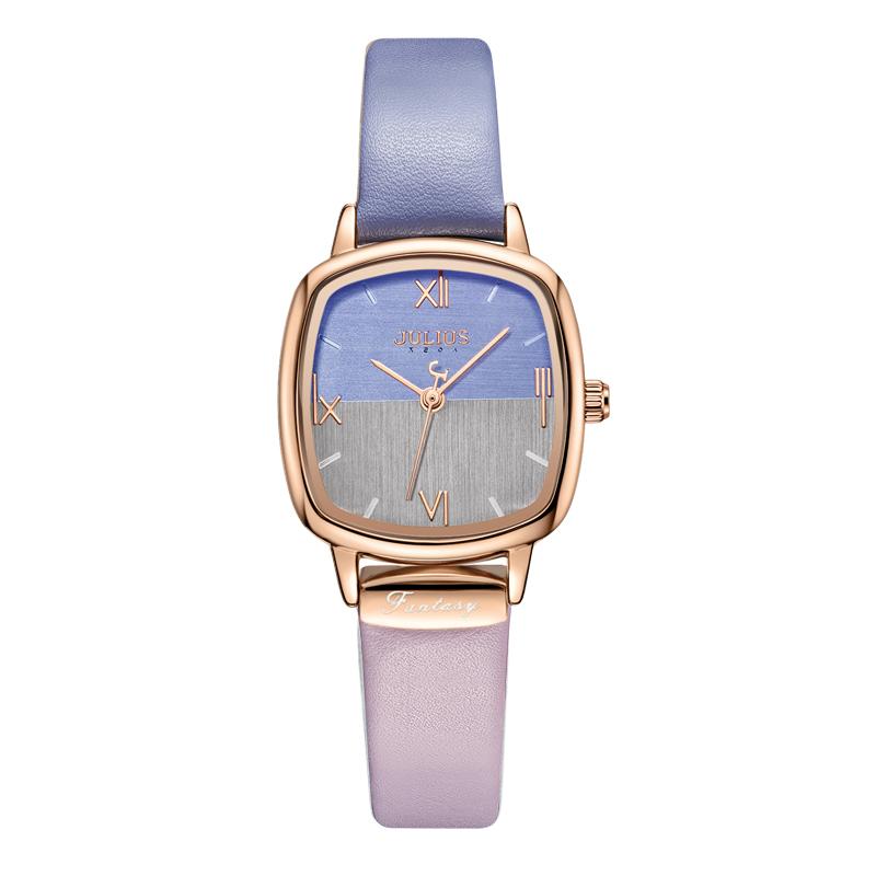 Đồng hồ nữ Julius Hàn Quốc JA-1240 dây da mặt phối 2 màu độc đáo