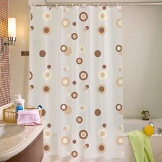 Rèm phòng tắm chống thấm nước - kèm móc cao 1.8m x 1.8m viền nâu vàng thumbnail