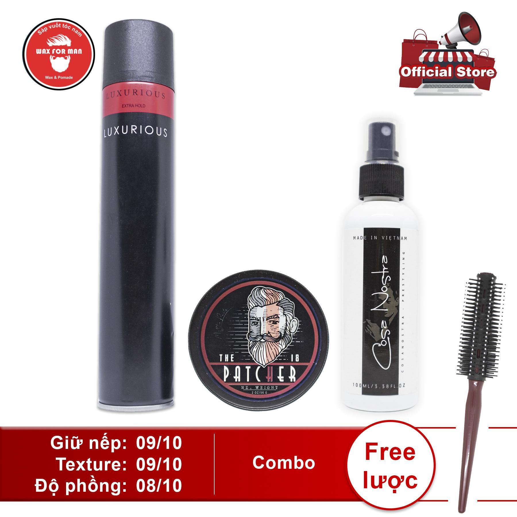 Sáp vuốt tóc The Patcher + pre-styling + gôm Luxurious (400ml) hoặc Silhouette (350ml) nhập khẩu