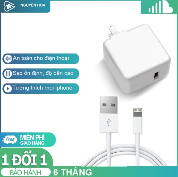 Combo Củ Sạc Vuông Và Cáp Sạc Iphone Nhà máy Foxconn Việt Nam, Bộ Sạc Iphone Dùng Tốt Cho Các Đời Iphone 5,6,7,8,X,11Pro Max (Trắng)
