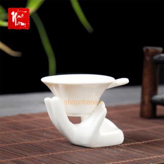 Bộ lọc trà bằng gốm sứ cao cấp bao gồm cả giá đỡ, phụ kiện bàn trà, trà đạo, phễu lọc trà - Phong thủy Nhã Nam thumbnail