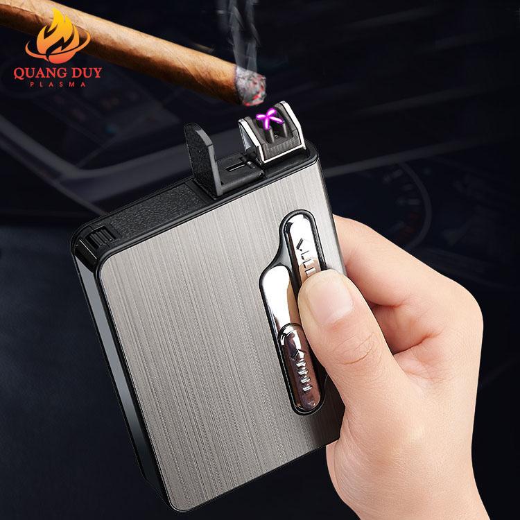Hộp đựng thuốc lá Kiêm bật lửa sạc điện sạc pin 4 tia plasma cao cấp chứa 12 điếu