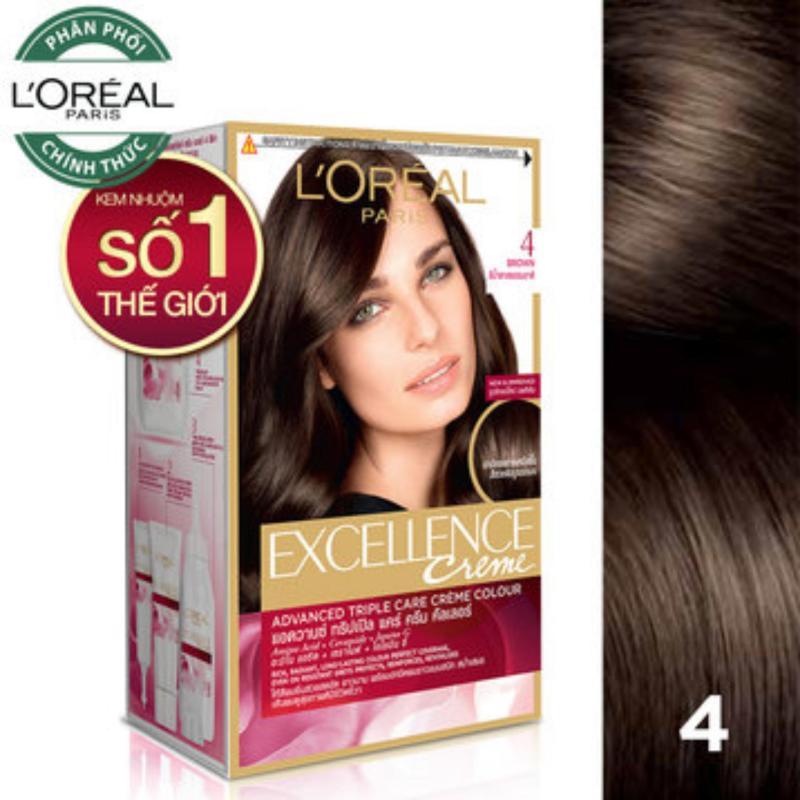 Thuốc nhuộm tóc Loreal Excellence Creme #4 Natural Brown ( Nâu tự nhiên ) - Tặng nón trùm tóc nhập khẩu