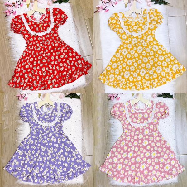Váy bé gái hoa cúc họa mi vải lụa mềm mát từ 18-32kg (5 màu)