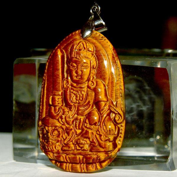[HCM]Mặt dây chuyền đá mắt hổ hình Phật bản mệnh-Tặng kèm dây chuyền inox