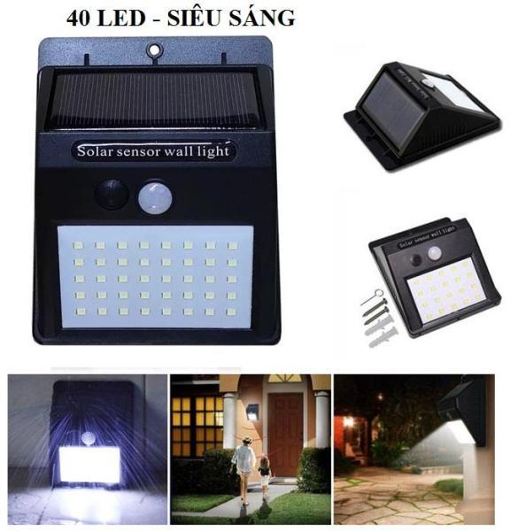 Đèn LED năng lượng mặt trời cảm biến hồng ngoại Solar 40 LED siêu sáng (Đen), đèn năng lượng mặt trời, đèn trang trí sân vườn