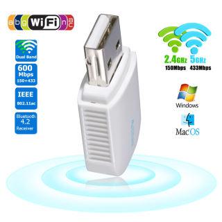 EzCast Dongle Không Dây Bluetooth 4.2 600Mbps Tốc Độ Cao 2.4G + 5G Bộ Chuyển Đổi USB WiFi Linh Kiện Mạng