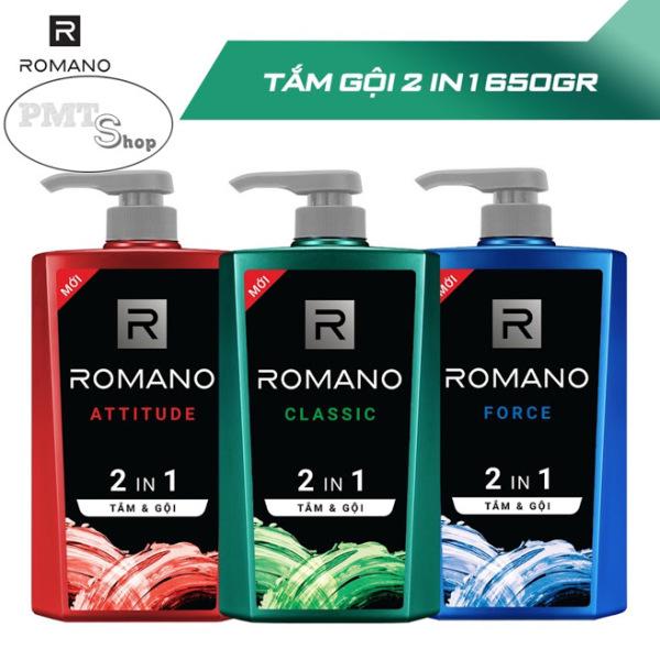 1 chai Tắm gội 2in1 nam Romano hương nước hoa 650g Classic   Attitude   Force 650ml giá rẻ