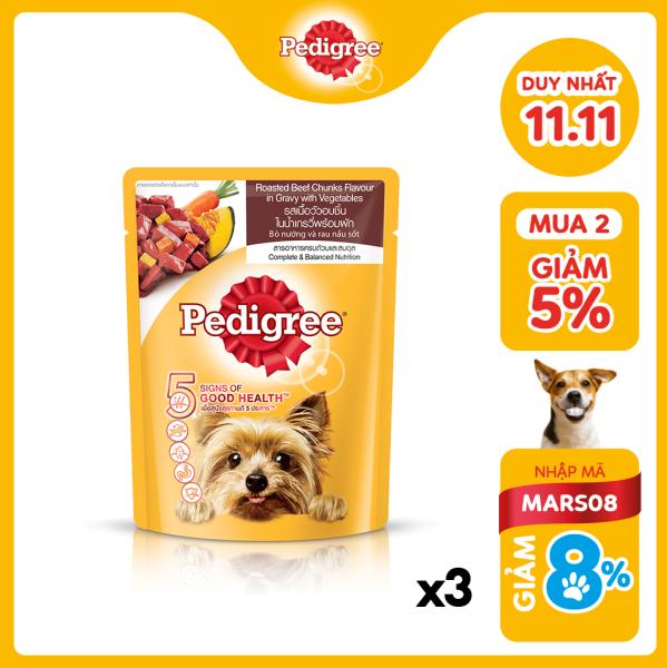 Bộ 3 túi thức ăn cho chó lớn dạng sốt Pedigree vị bò nướng và rau củ 80g