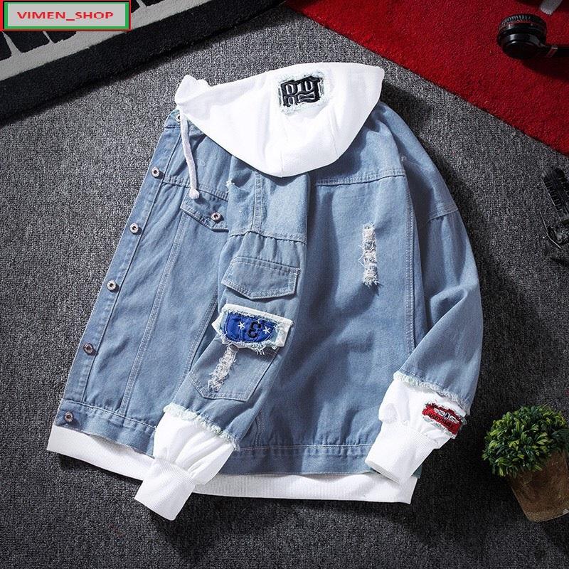 [HCM]Áo Khoác Jean Nam Mũ Nỉ Tay Nỉ Đẹp Cao Cấp Chất Vải Dày Dặn Đường May Ngay Ngắn Tỉ Mỉ - Tiện Dụng Và Nam Tính