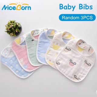 NiceBorn Set 3 yếm ăn họa tiết họa hình đáng yêu cho trẻ em chất liệu mềm mại thân thiện với làn da kích thước 30×20cm - intl