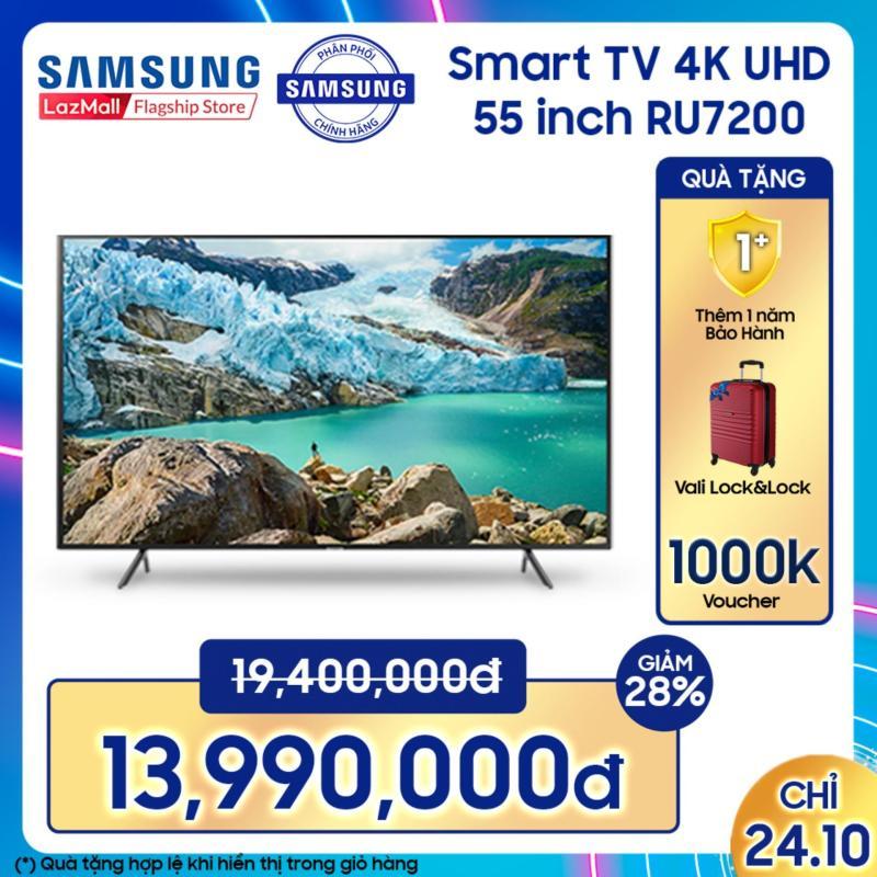 Bảng giá Smart TV Samsung 4K UHD 55 inch - Model UA55RU7200KXXV (2019) - Công nghệ hình ảnh HDR, UHD Dimming, Purcolour + Điều khiển Tivi bằng điện thoại - Hàng phân phối chính hãng