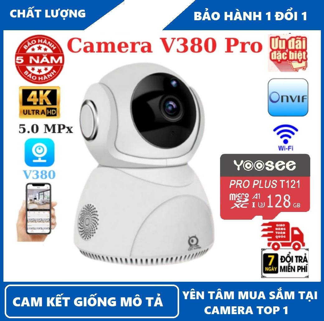 Bảo hành 5 năm-Tùy chọn thẻ nhớ 128 GB-Camera wifi V380 Pro Q8 , 5.0MPx , độ phân giải 4K , đàm thoại 2 chiều , xoay 360 độ , camera wifi ,camera ip , camera an ninh , camera giám sát , camera chống trộm