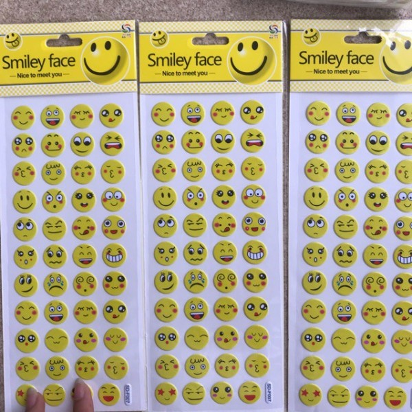 1 Tờ sticker nổi icon cảm xúc trang trí điện thoại, máy tính, sổ tay