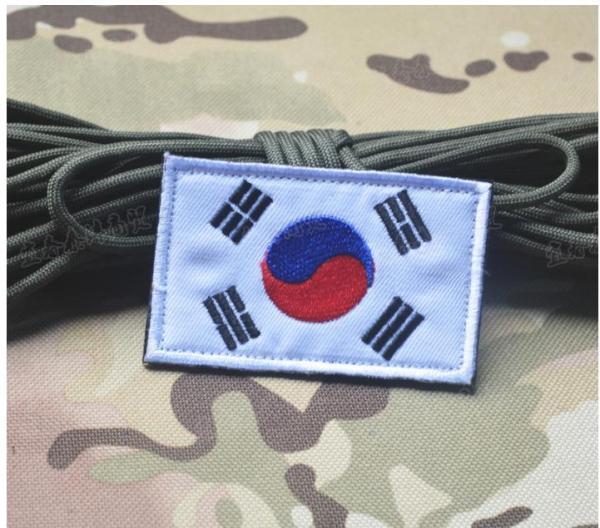 Patch Velcro logo cờ Hàn quốc, cờ lính Hàn quốc, cờ Việt Nam trang trí balo lính nón lính có sẵn mặt bông