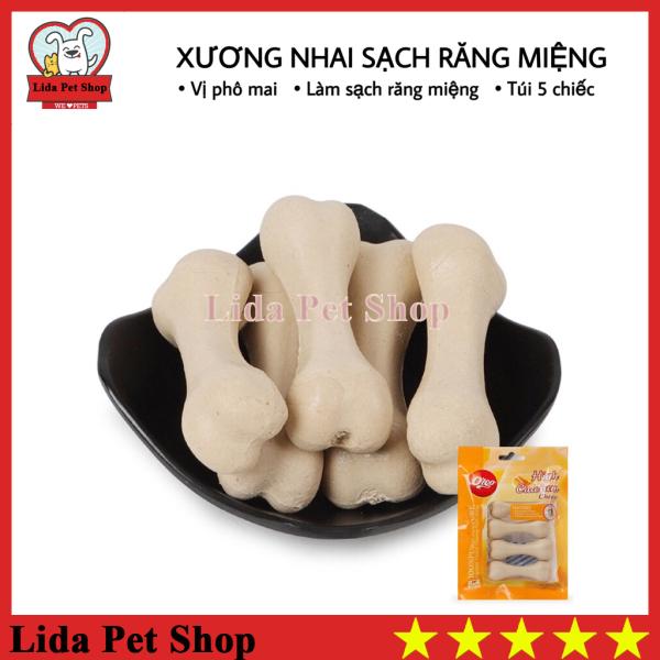 [Lấy mã giảm thêm 30%]HN- Xương nhai bổ sung dinh dương giúp sạch răng miệng hương vị phô mai - Túi 5 chiếc - Lida Pet Shop