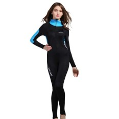 Hình ảnh 0.5MM Women One Piece Swimwears With Bra Pad Wetsuits Diving Snorkelig Suits Long Sleeves Surfing Rash Guards Swimsuit Hooded Jumusuit Jellyfish - Blue - intl