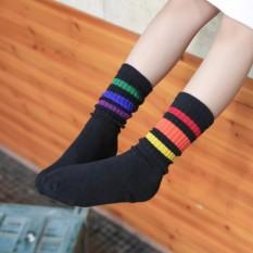 1 đôi vớ (tất) , dày giữ ấm, dài cao đẹp dễ thương CUTE, phong cách Nhật Bản chất lượng dành cho bé gái (3 đến 6 tuổi) _ (6 đến 12 tuổi) Sọc ngang nhiều màu khác loại – VDSN (KM)