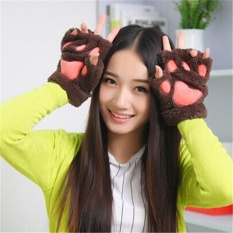 Giá bán 1 Pair Womens Girls Warm Soft Bears Paw Claw Furry Thicking Half Finger Gloves - intl