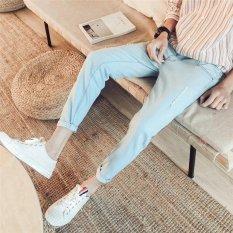 17 phong cách Quần Jeans Rách quần jean nam nam cotton quần ôm áo quần size 28-34- 809 Ánh Sáng màu xanh-quốc tế