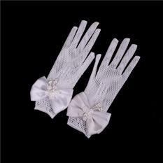 2 cái Trẻ Em Công Chúa găng tay Hoa Bé Gái Tay Ngắn với satin cung Co Giãn Găng Tay Lưới Màu Trắng-quốc tế