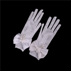 Giá bán 2 PCs Children Princess gloves Flower Girl Short Gloves with satin bows Stretch Mesh Gloves White - intl