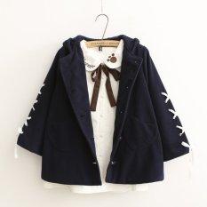 Bán Mua 2016 New Winter Thick Overcoat Woolen Coat Hooded Coat Cashmere Padded Coat Navy Intl Mới Bình Dương