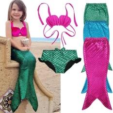Giá bán 2017 3 cái Cô Gái Trẻ Em Người Cá Swimmable Đồ Bơi Đầm Váy Nữ Bikini Bộ Áo Tắm Lạ mắt Trang Phục 3-9Y kích thước 100-150-qu ốc tế