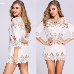 Hình ảnh 2017 New Fashion Women 3/4 Flare Sleeve Hollow Out Floral Lace Summer Beach Bikini Cover Up - intl