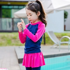 2017 New Girls And Kids Cute Long Sleeved Sun-Proof Swimsuit Little Girls Two-Piece Swimming Wear - Intl By Fancy Wear Store.