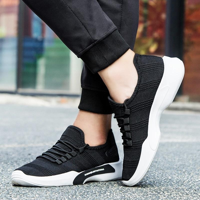 2017 New Mesh Running Shoes For Men Sneakers Outdoor Breathable Comfortable Athletic Flat Shoes Simple Sports Shoes for Men(black) - intl