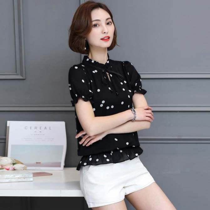 Mùa Hè 2017 Mới Plus Kích Thước Phụ Nữ Hàn Quốc Thời Trang tay Ngắn Cổ Tròn Voan Sơ Mi Chấm bi Blusas Nữ Áo Kiểu Cao Cấp 1095 #-quốc tế