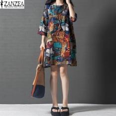 Chiết Khấu 2017 Zanzea Nữ Cổ Tron In Hoa Cotton Nữ 3 4 Thun Ao Rời Đầm Dài Đầm Vestido Xanh Dương Quốc Tế Zanzea Trong Hong Kong Sar China