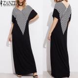 Bán 2017 Zanzea Nữ Cổ V Sọc Tui Dang Rộng Đầm Maxi Dai Đầm Mua He Nữ Hở Lưng Dài Đầm Vestido Plus Kich Thước S 5Xl Đen Quốc Tế Trung Quốc