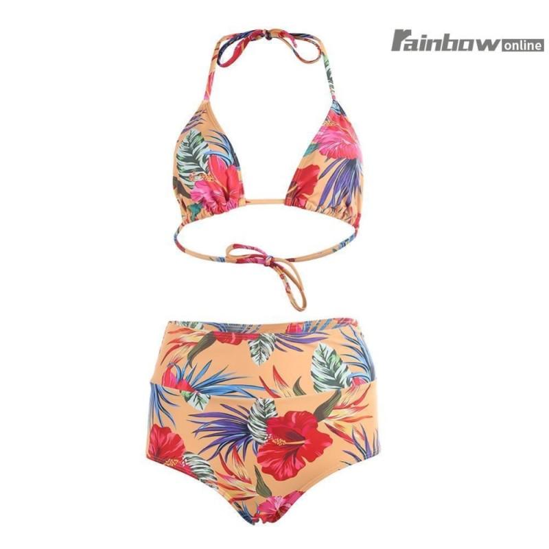 Nơi bán 2 cái Bộ Bikini Cao Cấp Đầm Sexy In Hoa Đồ Bơi-quốc tế (Blue Int:M)
