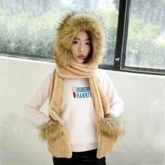 Giá bán Năm 371419554468 Nữ Mới Lông Thú Giả Mùa Đông Ấm Lông Tơ Hood Khăn Mũ Snood Bỏ Túi Mũ Găng Tay-quốc tế