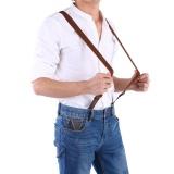Adult Button Buckles Suspenders Adjustable Belts Pants Trousers Braces Elasticity Strap Brown - intl