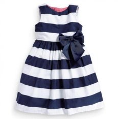 Giá bán Amart Child Summer Style Girls Dresses Butterfly Knot Zipper Striped Vest - intl