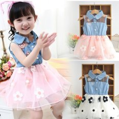 Giá bán Amart Cute Denim Top Sun Flower Princess Tutu Dresses Baby Girls Toddler Clothes - intl