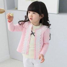 Giá bán Amart Girls Slim Coat Cardigan Sweater Infant Knitted Lace Splice Jacket(Pink) - intl